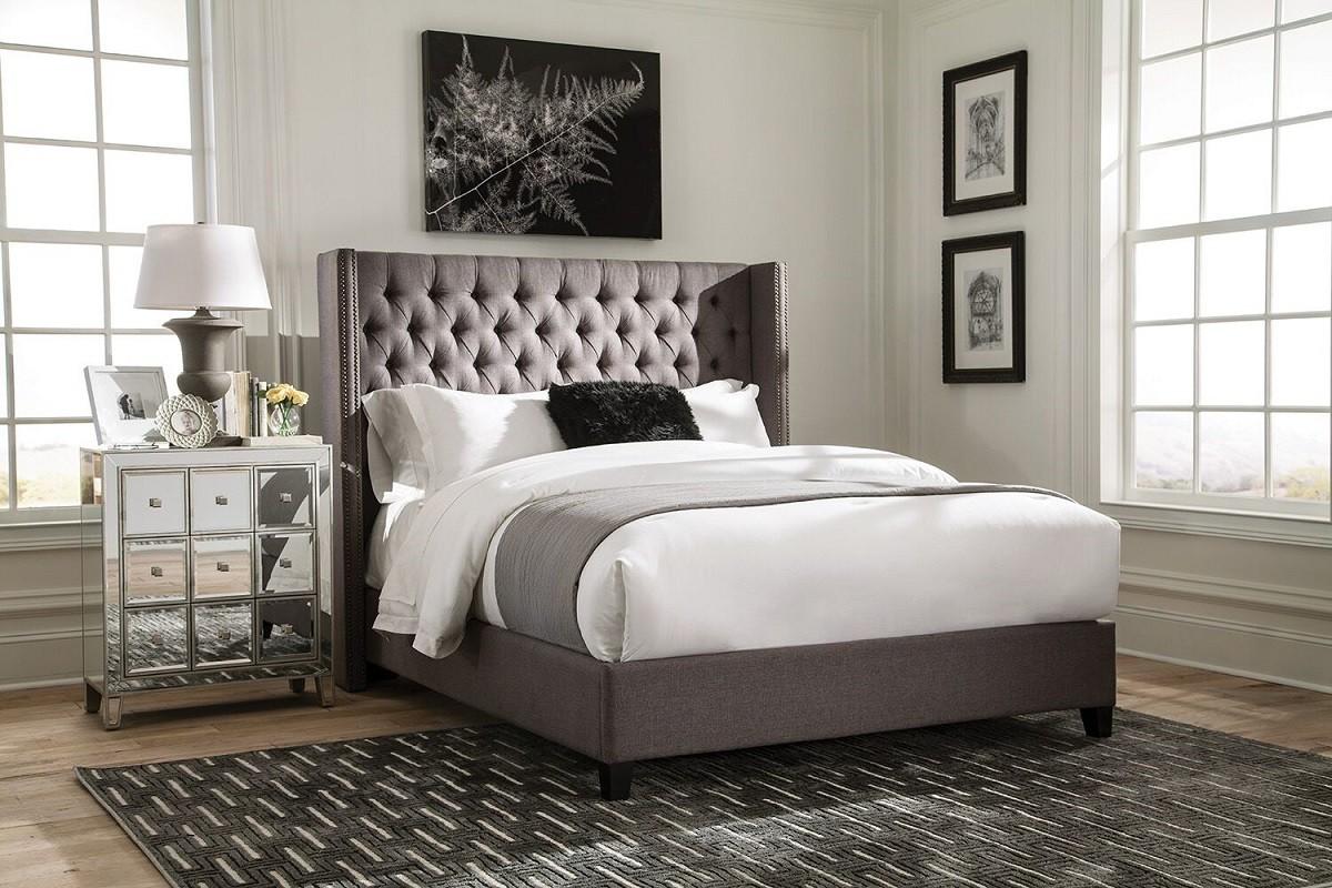 Denver Grey Bed 300705Q - Miami Furniture