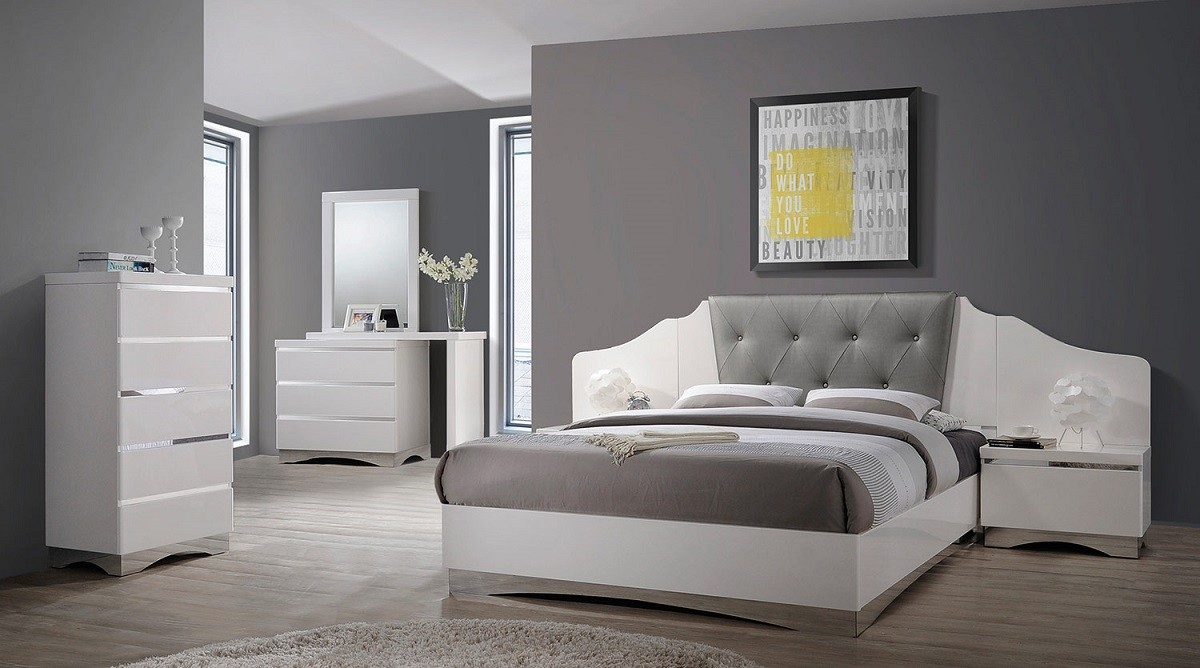 Alessandro Glossy White  4-Piece Bedroom Set