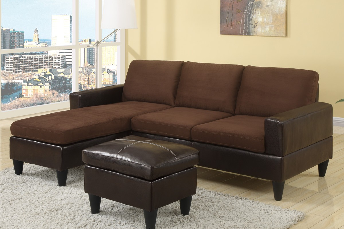 Deco Two-Toned Chocolate Sectional with Ottoman