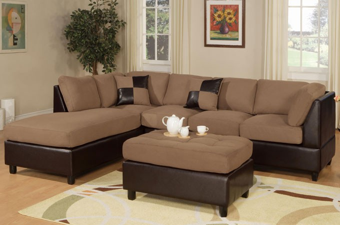 Plush Saddle Sectional with Ottoman
