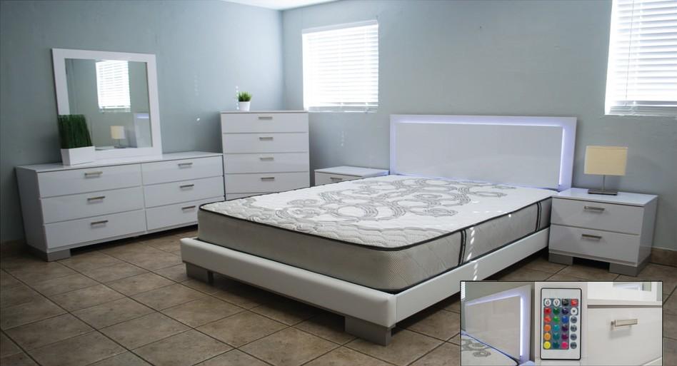 LED Lights 3-Pc Bedroom Set
