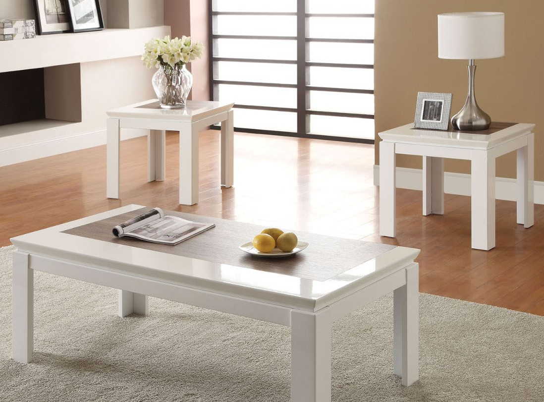 80724 kilee white 3 piece coffee table set miami furniture. Black Bedroom Furniture Sets. Home Design Ideas