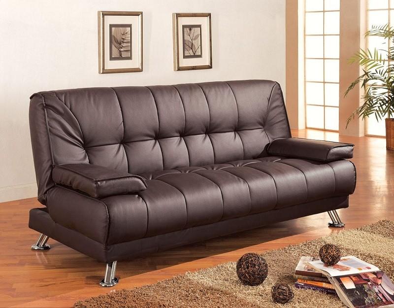 Brown Leatherette Modern Futon Sofa Bed
