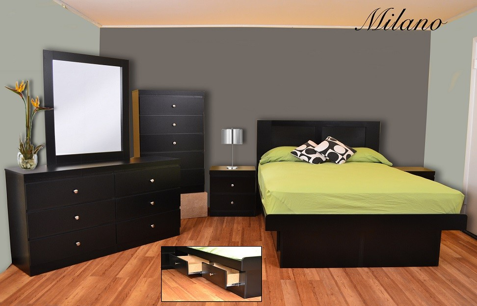 Milano Platform 5-Piece Modern Bedroom Set