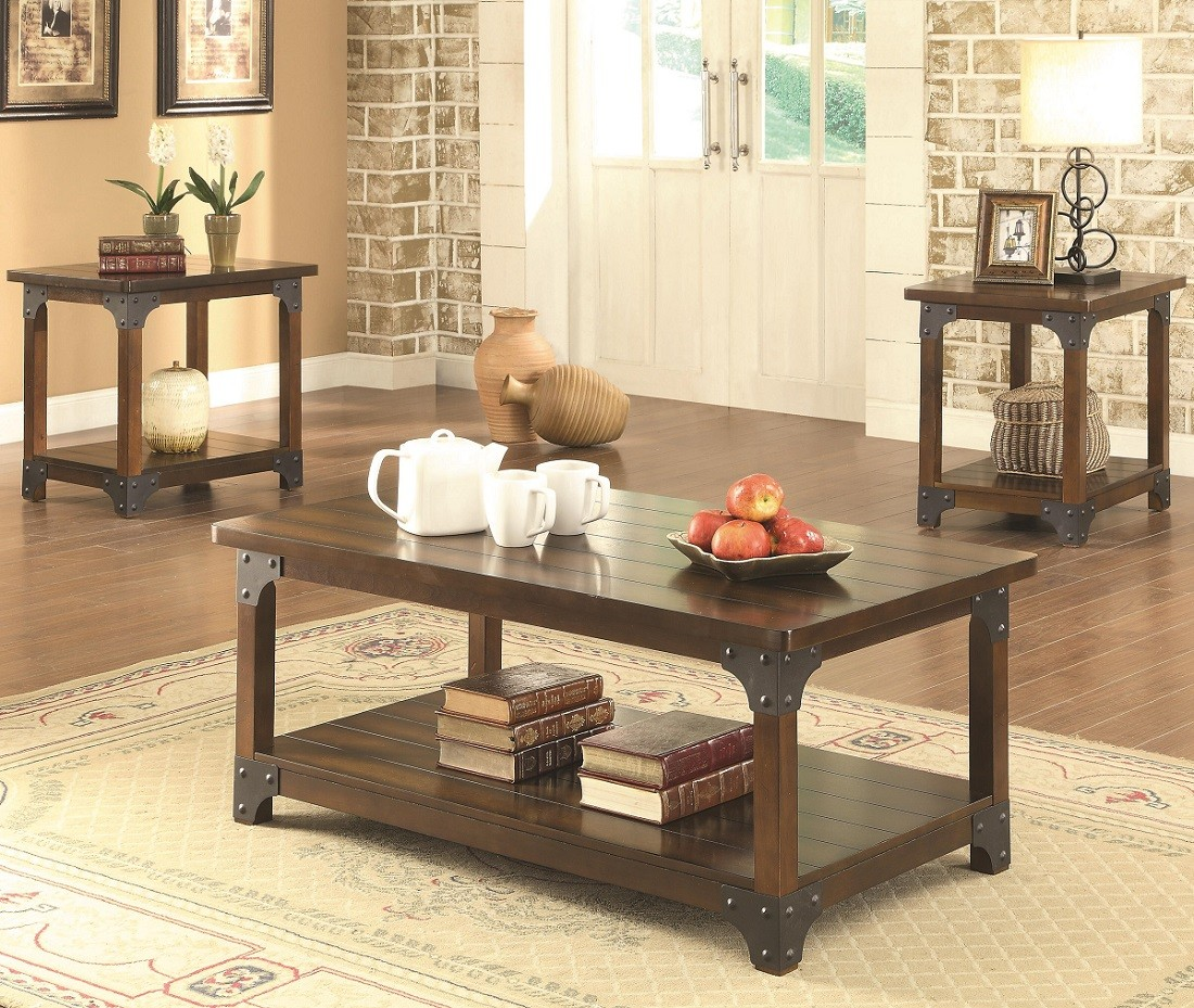 Tobacco Brown 3-Piece Coffee Table Set