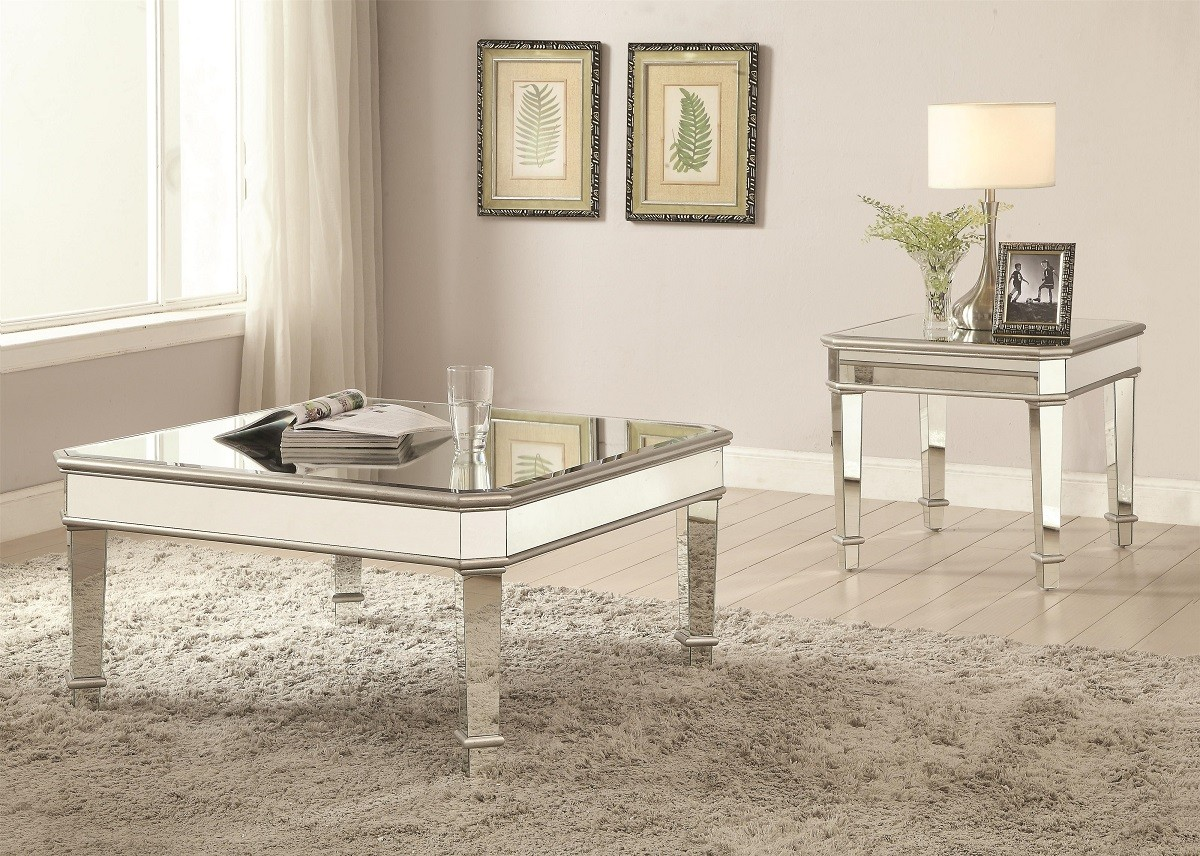 Glam Mirrored Coffee Table 703938 Miami Furniture