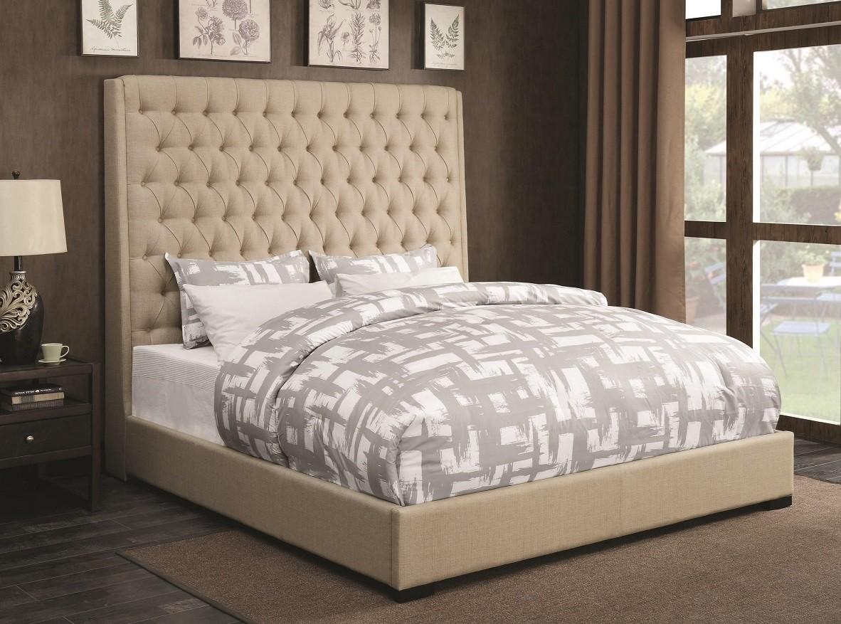 Valdin Upholstered Beige Bed