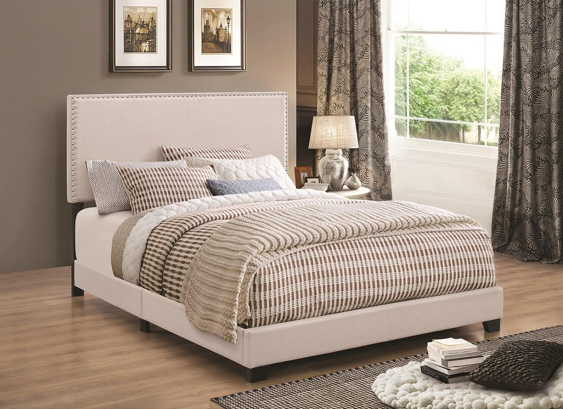Carol Yvory Fabric Upholstered Bed