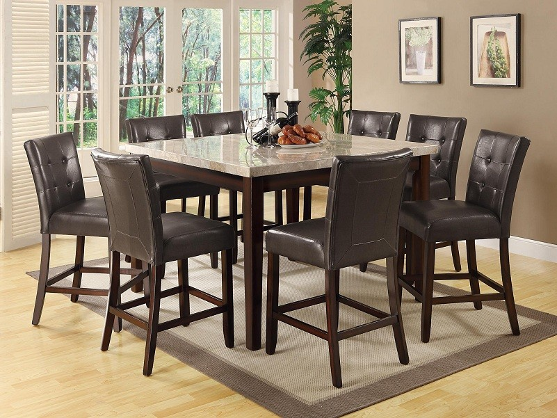wesley light marble 5piece counter height dining set