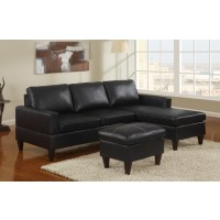 Deco Black Faux Leather Sectional with Ottoman