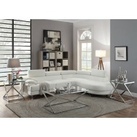 Quincy White Leatherette Sectional