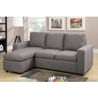 Jen Grey Linen Sectional with Ottoman