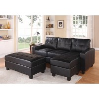 Lyssa Black Sectional with Ottoman