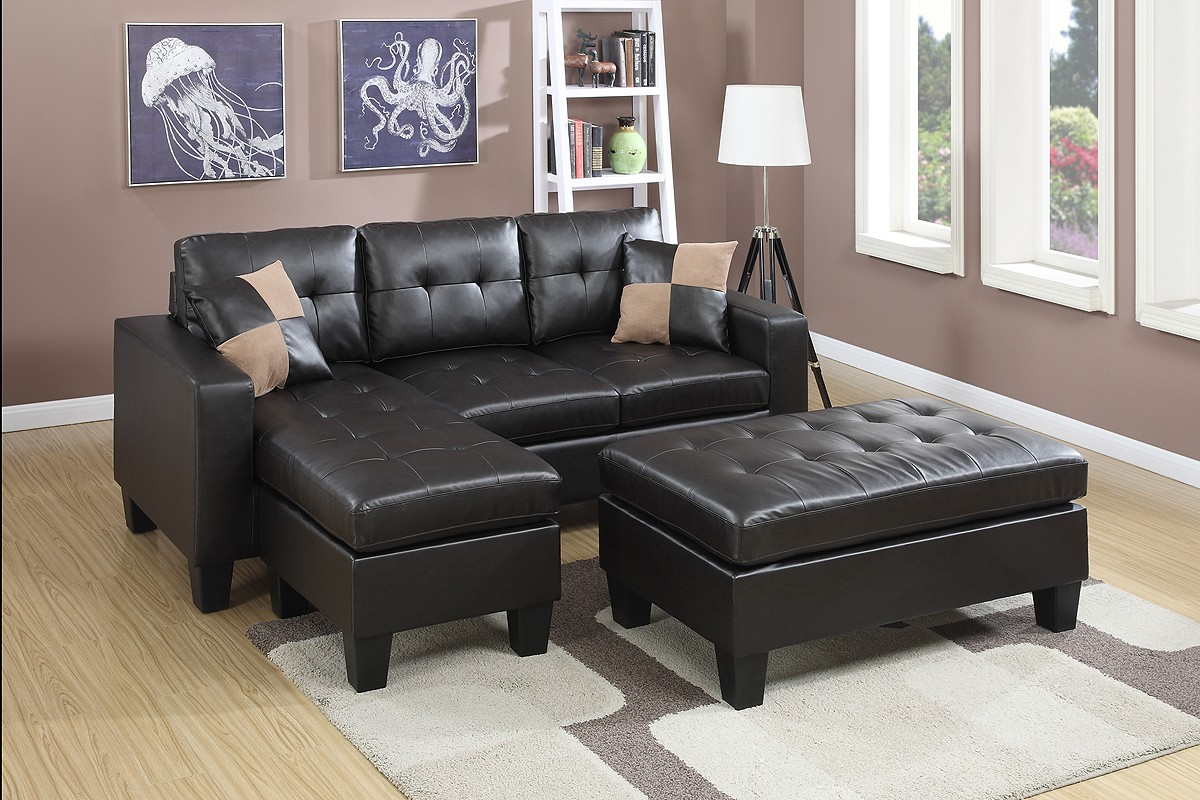Lena Espresso Sectional with Ottoman