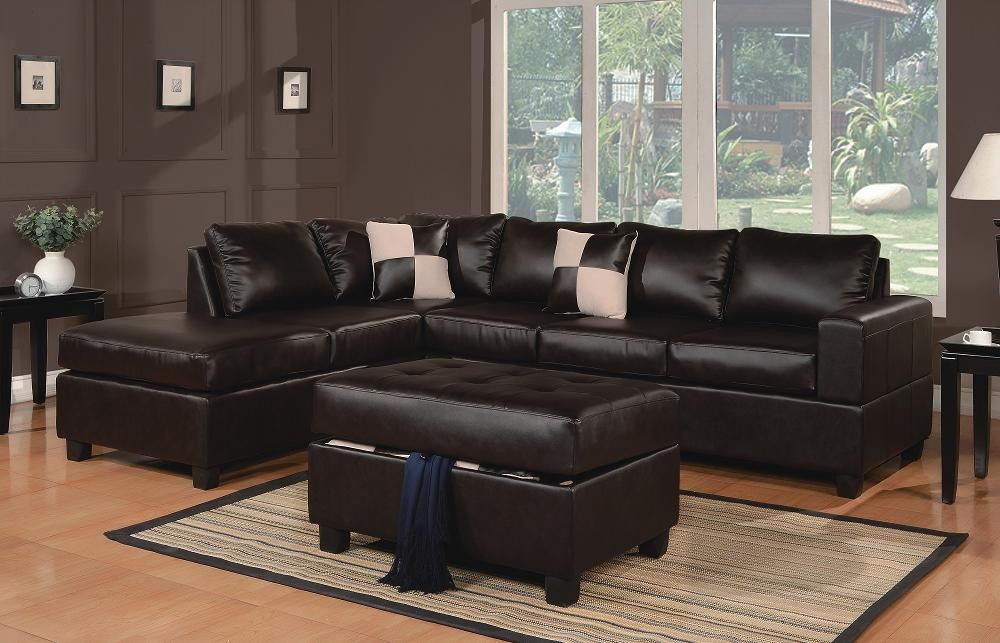 Espresso Leather Sectional with Ottoman