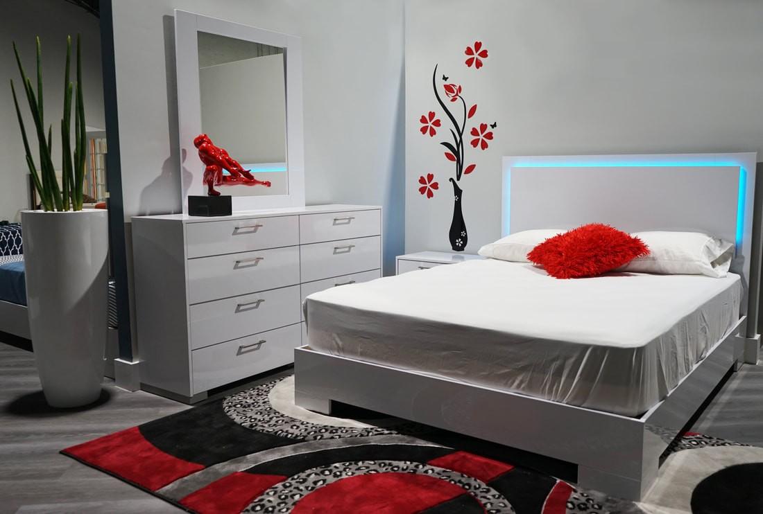 LED Lights Bedroom Set - Miami Furniture