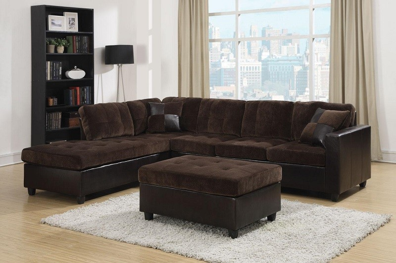 Mallory Espresso Two-Toned Sectional with Ottoman