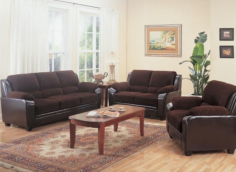 Monika Chocolate Sofa and Loveseat