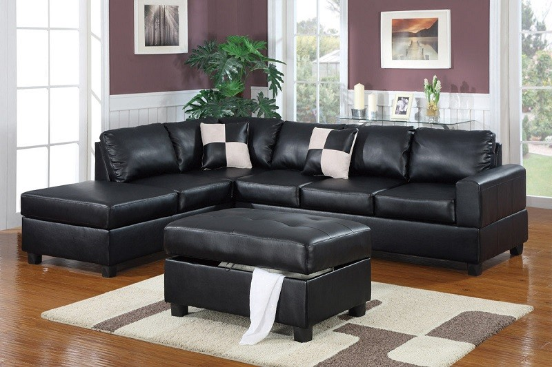 Midnight Leather Sectional with Ottoman