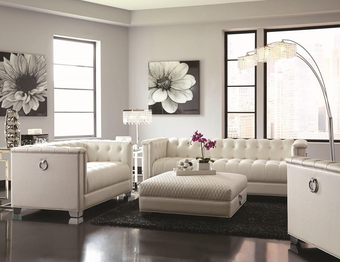 Arianna White Sofa, Loveseat & Ottoman