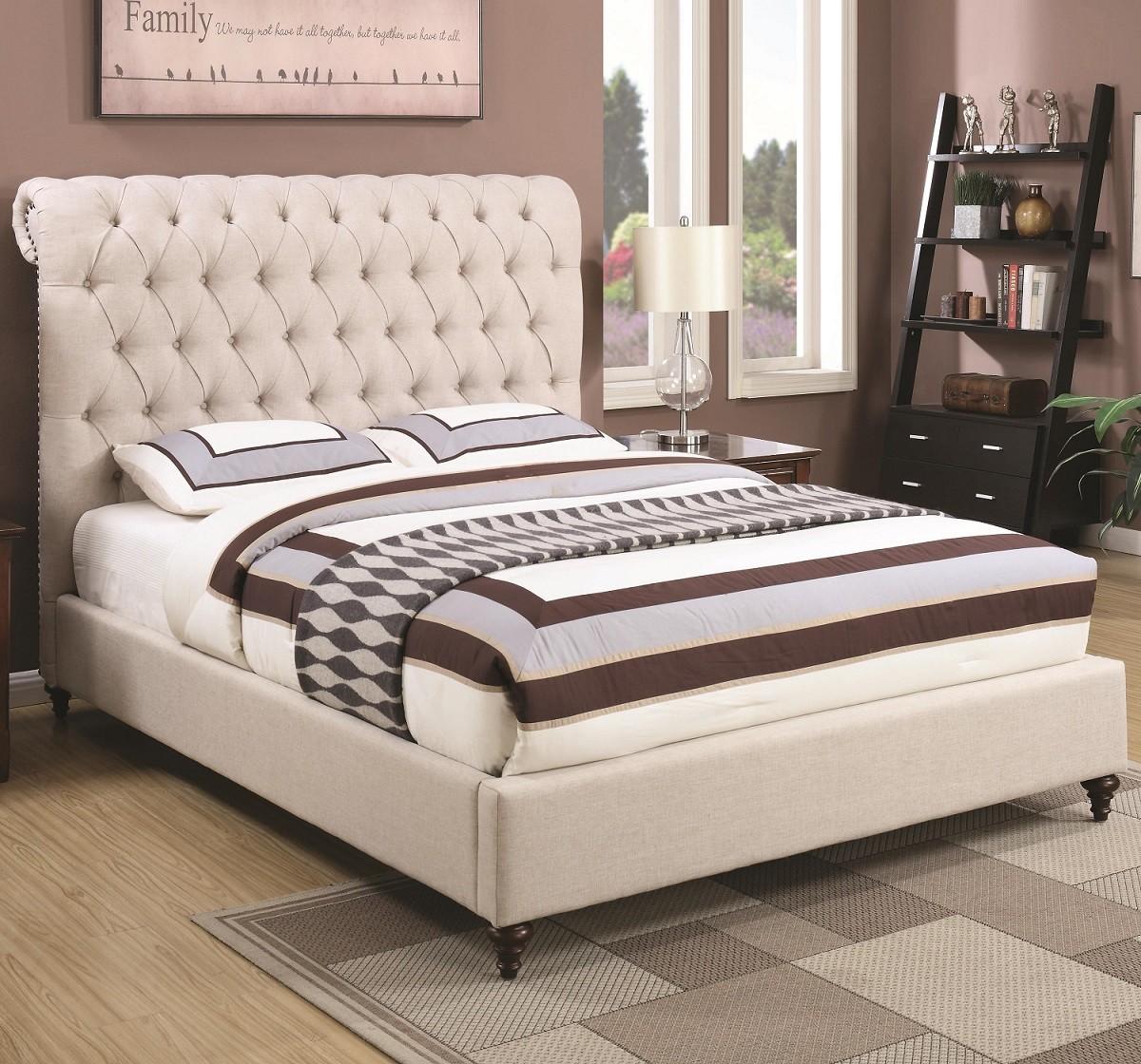 Sammy Beige Fabric Bed