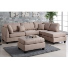 Jack Tan Sectional with Ottoman