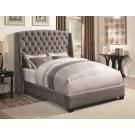 Pissarro Grey Velvet Upholstered Bed