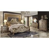 Dresden Gold Patina Finish 4-Piece Bedroom Set