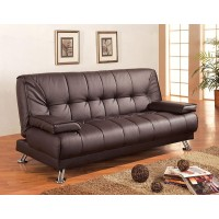 Brown Leatherette Modern Futon Sofa Bed