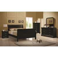 Louis Phillipe Black 4-Piece Bedroom Set