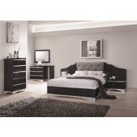 Alessandro Glossy Black  4-Piece Bedroom Set