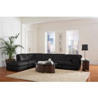 Quinn Black Sectional with Ottoman