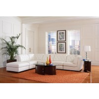 Quinn White Sectional with Ottoman