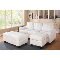 Lyssa White Sectional with Ottoman