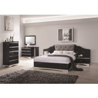 Alessandro Glossy Black  4-Piece Bedroom Set